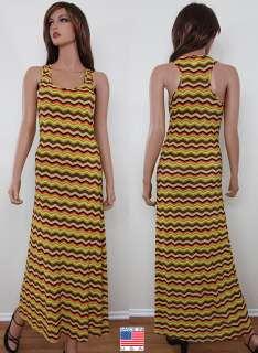 Aztec Print Summer Beach Tank Top Racer Back Maxi Long Sun Dress USA S
