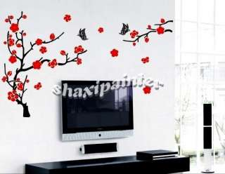 Plum Cherry Blossom Butterfly Deco Mural Wall Sticker Christmas Gift
