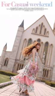 New Women Bohemian Style Chic Chiffon Colorful Long Full Length Dress