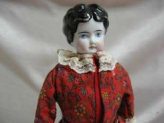 Parian China Porcelain Head Doll Leather Kid Body Bisque Hands