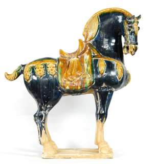 CERAMIC BLUE HORSE STATUE Chinese Tang Figurine Art 31