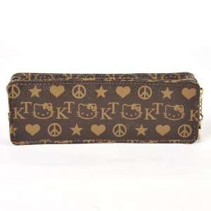 Hello Kitty Face Pencil Box Case Bag Holder Brown Toys & Games
