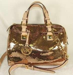 Sequins Medium Satchel Bag Purse Gold Suntan 885949492099