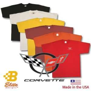 C5 Corvette Emblem Embroidered On American Made Tee Shirt