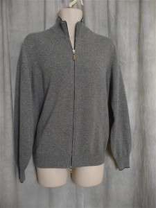 NWT Brunello Cucinelli gray cashmere cardigan zip front  52/L; Rtl $