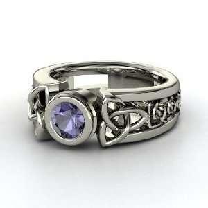 Celtic Sun Ring, Round Iolite Palladium Ring Jewelry