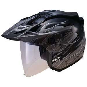GMAX GM 27 Open Face Motorcycle Helmet   Black   Silver
