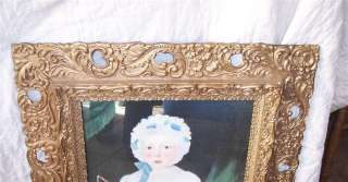 Gold Carved Frame w/ Picture of Girl and Toy Horse