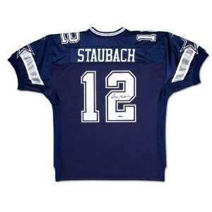 Roger Staubach Signed Dallas Cowboys Blue Jersey Sports