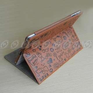Gen Cute Graffitti Magnetic Smart Cover Leather Case Wake/Sleep
