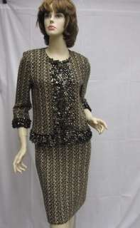 St. John Knit COUTURE Evening Jacket Skirt Suit Black Gold Size 4 NWT