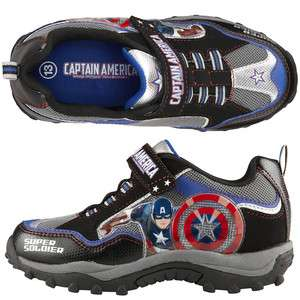 CAPTAIN AMERICA MARVEL HERO AVENGER Boys Black Light Up Sneakers Shoes
