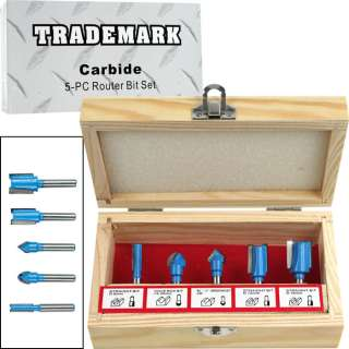 Carbide Router Bit Set   5 piece Set by Trademark Tools 844296066780