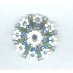 Vintage Flowers Pin with Blue & Green Rhinestones