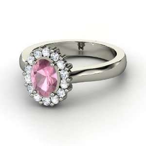 Princess Kate Ring, Oval Pink Tourmaline Palladium Ring with White