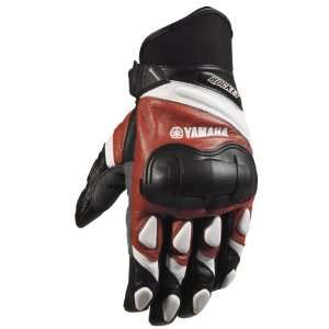 Rocket Yamaha Leather Champion Gloves   Large/Red/White Automotive