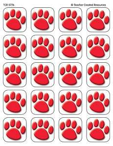 120 RED PAW PRINTS STICKERS Cats Dogs Paws NEW 088231957768
