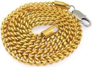 SOLID STAINLESS STEEL GOLD TONE HIGH POLISHED MENS CUBAN PENDANT