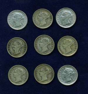 HONG KONG VICTORIA 5 CENTS COINS, INCLUDES 1887,1888,1889,1889 H