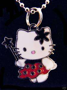 Red fairy Hello Kitty Charm Chained Necklace CUTE