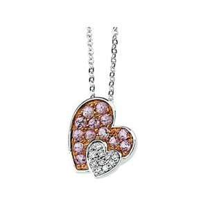14k Wht Gold Rose Rhodium Pink Sap. Diamond Necklace .05ct