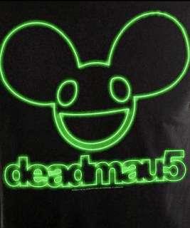 DEADMAU5~ BLACK GREEN NEON HEAD MENS SLIM FIT ZIMMERMAN LICENSED