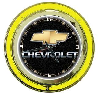 Chevy Logo Neon Garage Wall Clock   14 inch Diameter 844296020171