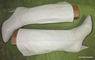 Vintage 9West Nine West Melissa Off White Leather Tall Fashion Boots
