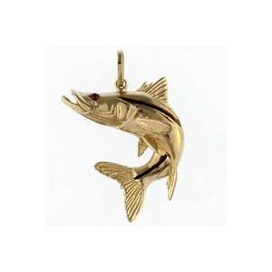 Reyes del Mar 14K Gold Snook Curl Tail Nautical Pendant