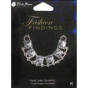 Findings   Metal Jewelry Connector   Half Circle Glass Stone   Silver