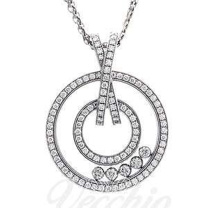Chopard 18k White Gold Happy Diamonds Circle Necklace B&P