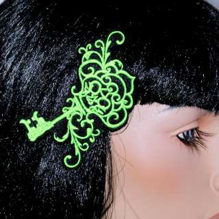 Cyber Goth SteamPunk Skeleton Key Embroidered Hair Clip