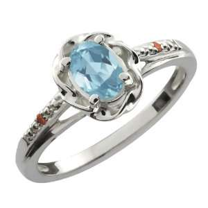Oval Sky Blue Topaz Cognac Red Diamond Sterling Silver Ring Jewelry