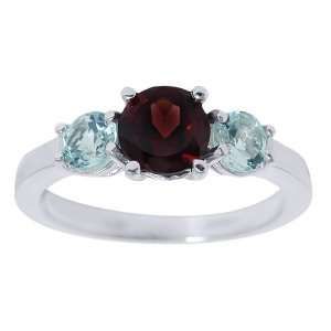 1.62 Ct Red Garnet & Sky Blue Topaz .925 Silver Ring Jewelry