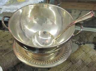 RAILROAD SILVER PLATE SOUP TUREEN W UNDER PLATE & SPOON 4 PIECE