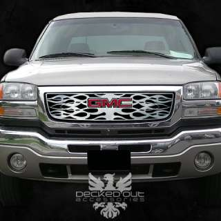 GMC Sierra 03 06 Denali Punch Round Chrome Style Grille Grill Insert