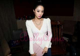 Korean Women Shrug Shoulder VNeck Empire Waist Vintage Peplum Tops