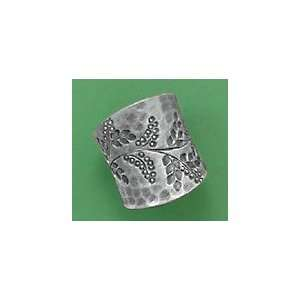 Oxidized Sterling Silver Ring, 1 inch wide, Vine Design Jewelry