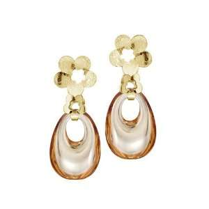 Gold Reconstructed Champagne Citrine Door Knocker Earrings Jewelry