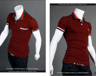 NWT Mens polo Slim TEE Shirts Fit Casual Short sleeved T shirts FREE
