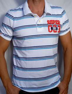 Superdry Mens Stripe POLO Tee Shirt NEW   White   XL