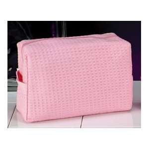 Cotton Waffle Cosmetic/Travel Bag (Pink) Health