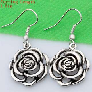 Sexy Big Exquisite Tibetan Silver Flower Earrings New