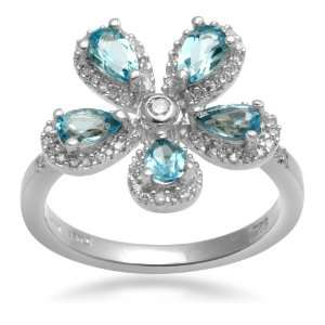 Jewelili 1/3ct Diamond and Genuine Blue Topaz Flower Ring in Sterling