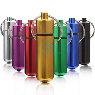 New Aluminum Pill Box Case Bottle Holder Container Keychain M