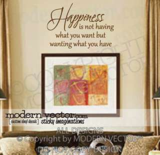 INSPIRATIONAL Quote Vinyl Wall Decal HAPPINESS IS