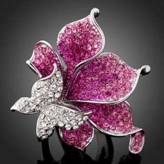 Arinna Crystals Butterfly Purple Flower GP finger Rings