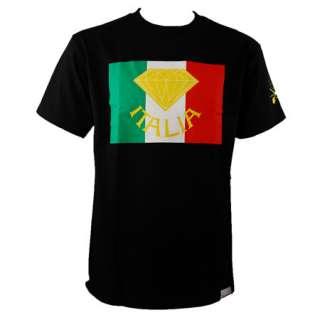 Diamond Supply Co. Italia T Shirt Flag Logo Script Black Red White
