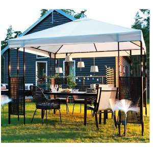 Ikea Ammero Gazebo Beige with Dark Brown Frame Patio
