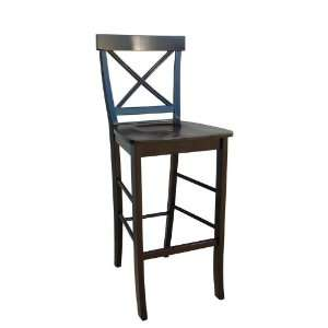 30H Black Finish Crossback Counter Height Bar Stool